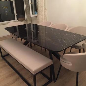 Bruno Perla Mermer Yemek Masası ( 8 Kişilik )